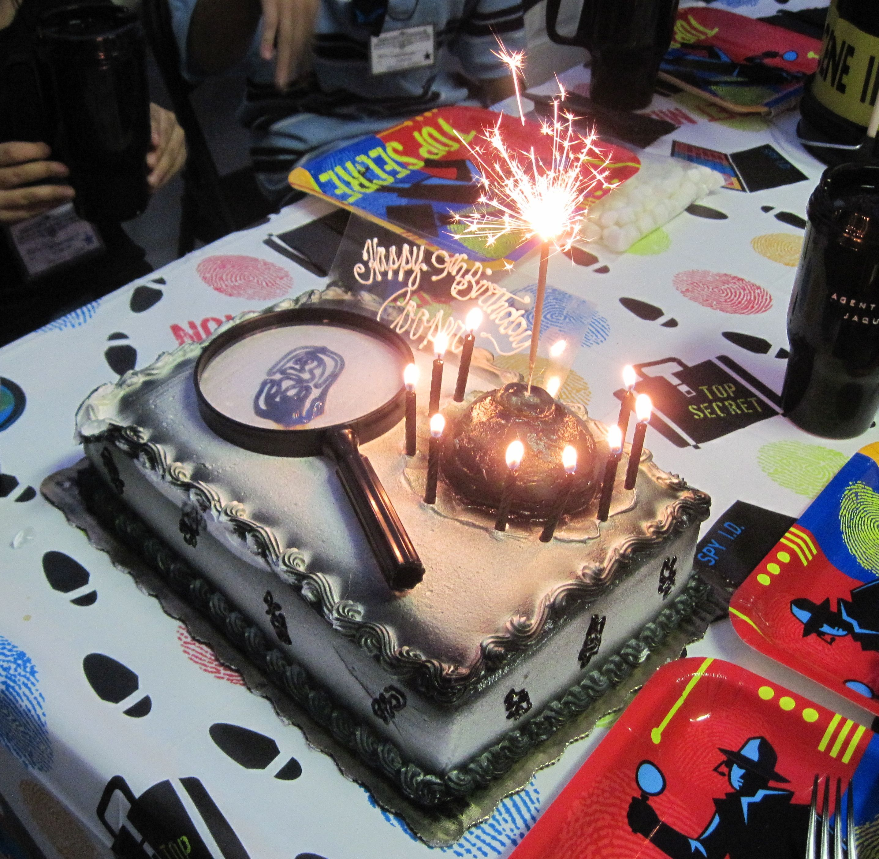 The cake I designed for my son's Secret Agent Spy Birthday party...exploding bomb with the fuse lit