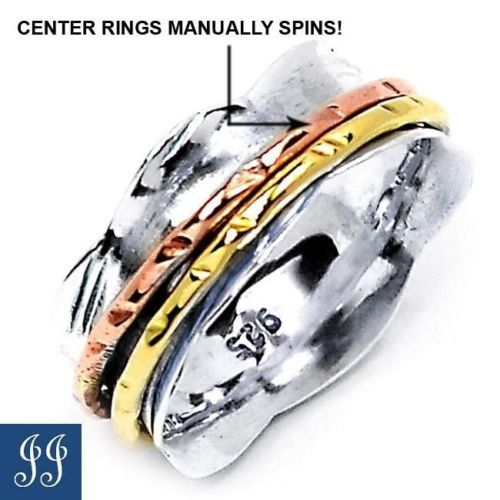 S7 Unique Two Tone Spins Rings 925 Sterling Silver Ring Jewelry s 7   eBay