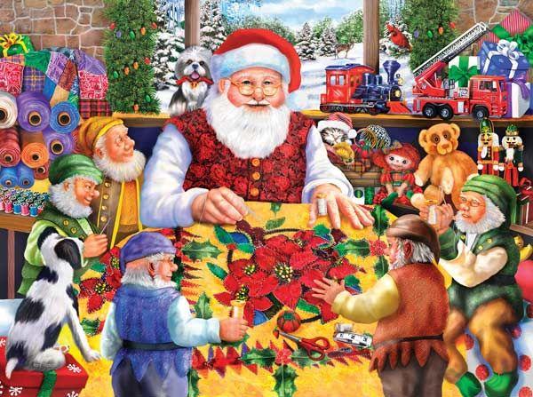 Santa\u0027s Quilting Bee Christmas jigsaw puzzles Pinterest Santa