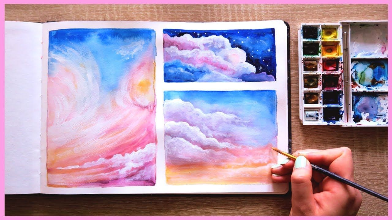 How To Paint Cotton Candy Clouds With Watercolors For Beginners