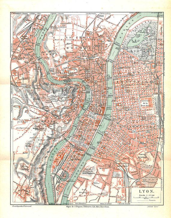 City Plan Lyon France Vintage Map 1920s Carte Lyon Cartes Anciennes Vieilles Cartes