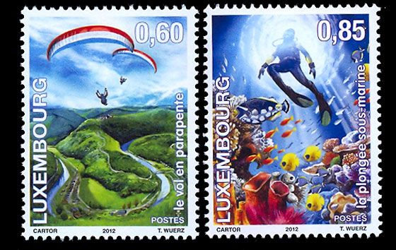 "Two new stamps in the ""Fun & Liberty"" series was placed on sale in September 2012. Camping was the subjects in 2010 when ""Fun & Liberty"" was launched. This year we present to you paragliding and diving. #stamps #paragliding #diving #luxembourg http://www.wopa-stamps.com/index.php?controller=country&action=stampYear&id=2010&loc=LU"
