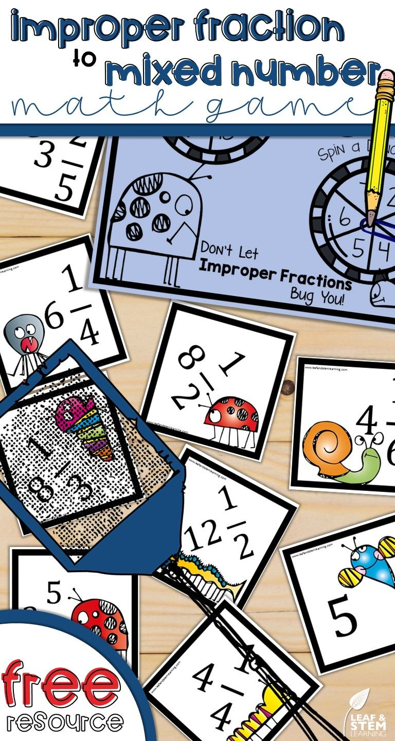 Improper Fraction To Mixed Number Math Center Game For Free This Fun Math Game For 4th Grade 5th Grade And Improper Fractions Math Center Games Spring Math [ 1440 x 768 Pixel ]
