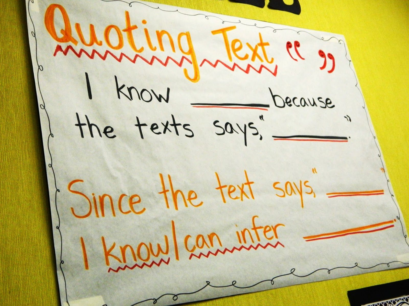 Sentence Starters Quoting Text