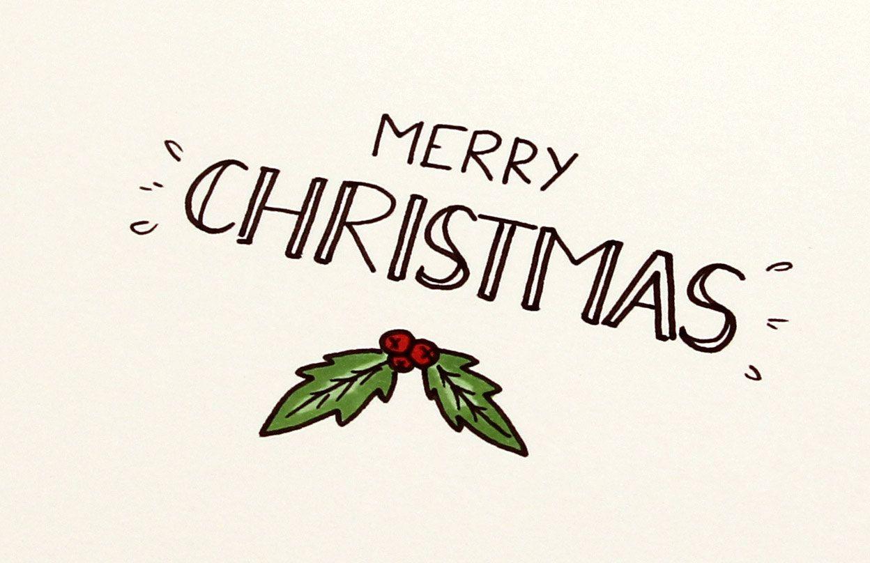 Merry Christmas Small Greeting Cards Set Of 5 De La Boutique