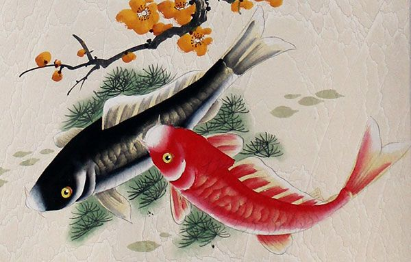 Annual surplus chinese koi fish painting art http www for Koi artwork on canvas