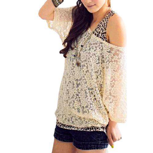 Allegra K Ladies Beige Scoop Neck Half Sleeves Lace Shirt L w Tank Top Allegra K,http://www.amazon.com/dp/B008X1JJ2I/ref=cm_sw_r_pi_dp_83MHrb214A6A40B0
