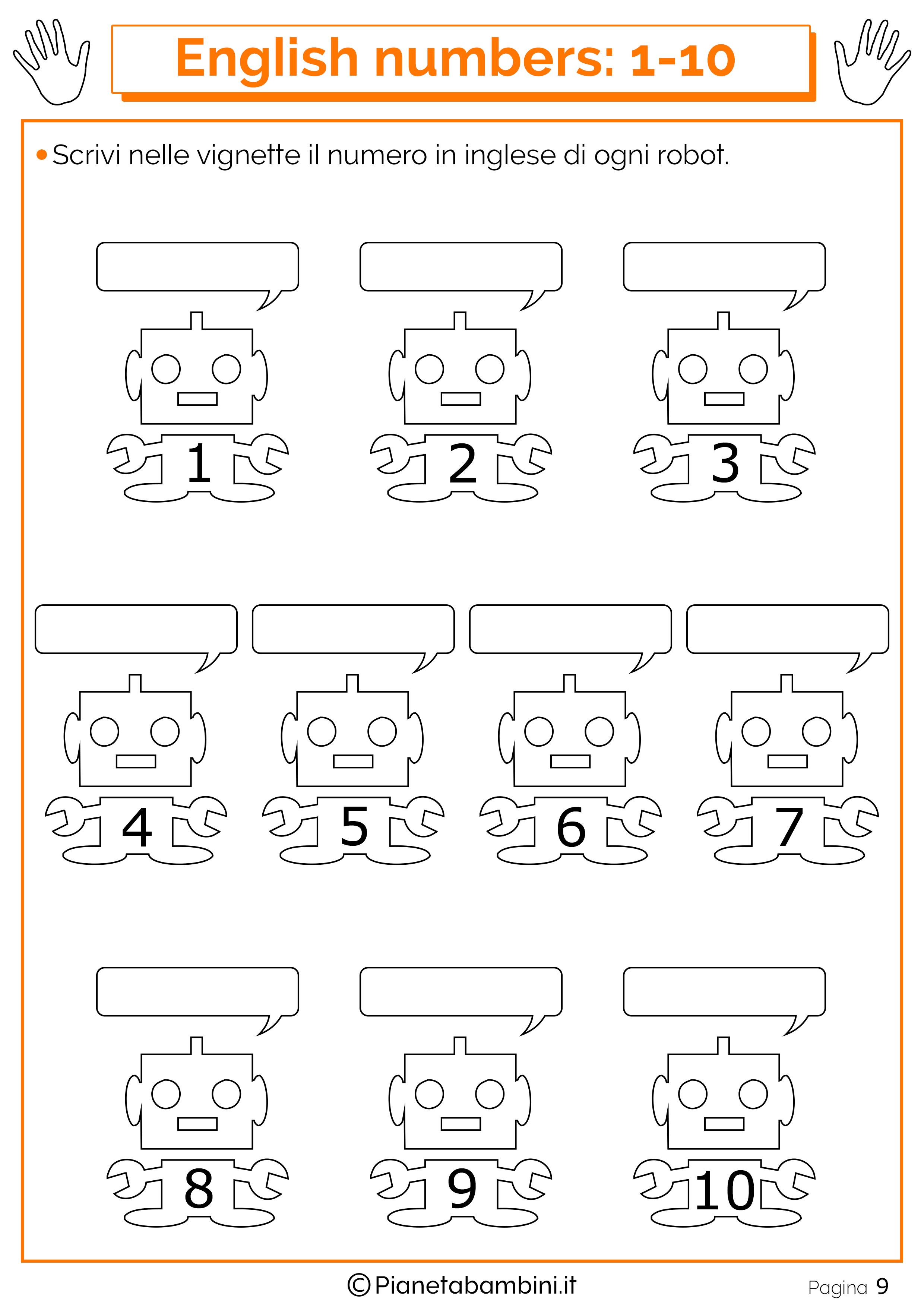 Schede Sui Numeri In Inglese Da 1 A 20 Per Bambini Da Stampare