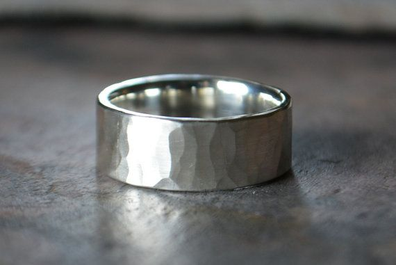 Men S Wedding Band Comfort Fit Hammered Sterling Silver Rugged Thick Manly Ring