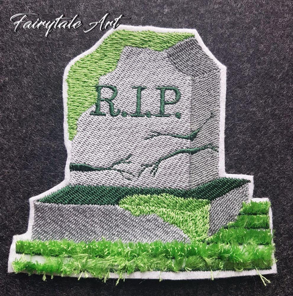 Details zu Applikation Rest in Peace, Halloween, Fransen, Fringe ...