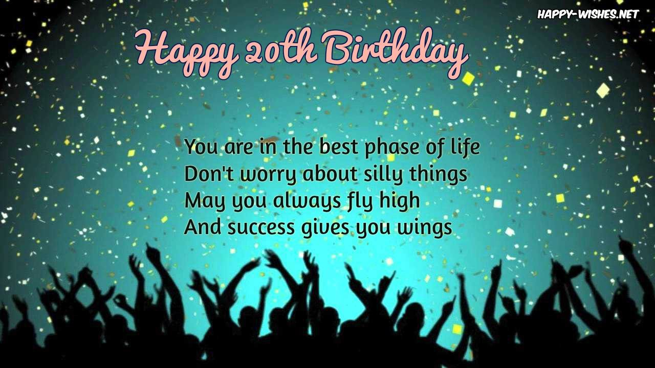 Happy 20th Birthday Wishes Quotes and messages 20th