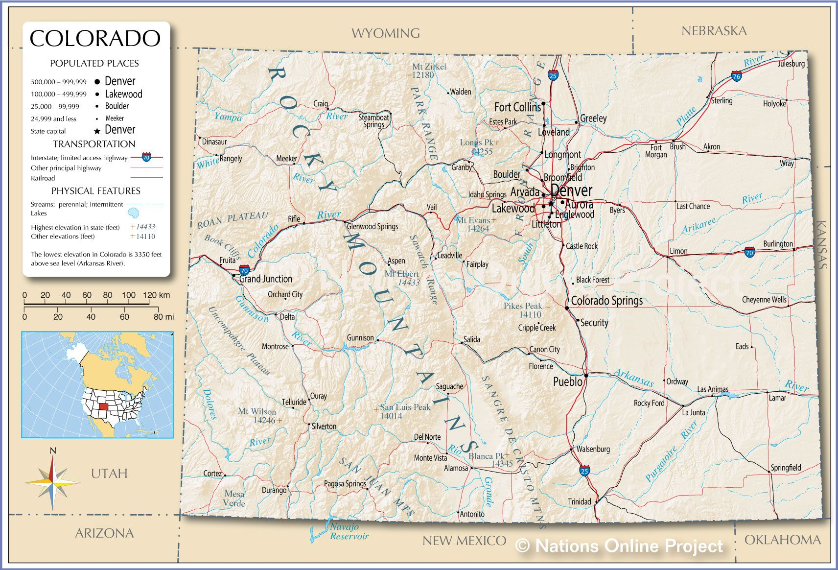 Map Of The U S State Of Colorado Colorado Map State Of Colorado Colorado