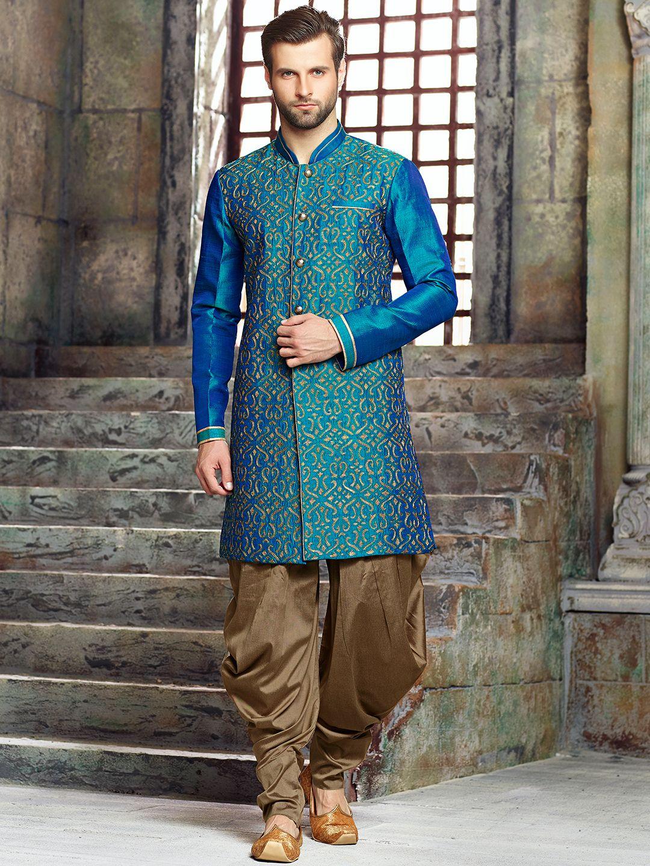Silk Blue Wedding Wear Kurta Suit | sherwani & kurta | Pinterest ...