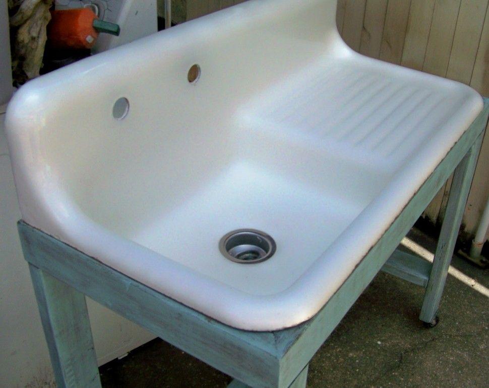 Bathroom : Antique Style Bathroom Sinks Sink With Drainboard ...