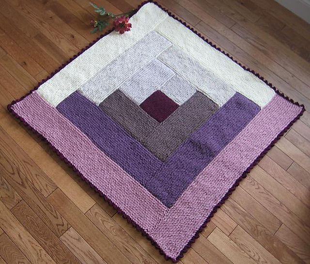 Free Knitting Pattern For Log Cabin Blanket : BumbleBerry Flan pattern by Margaret MacInnis Count, Stitches and Flan