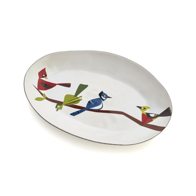 Awesome Crate And Barrel Oval Bird Platter