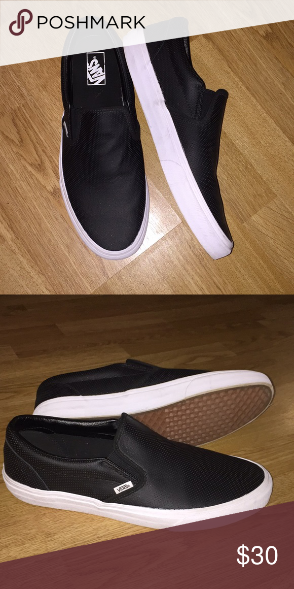 737d0a76bc Vans perforated leather slip ons Very lightly used size 13 black leather  Vans slip ons for sale. Vans Shoes Sneakers