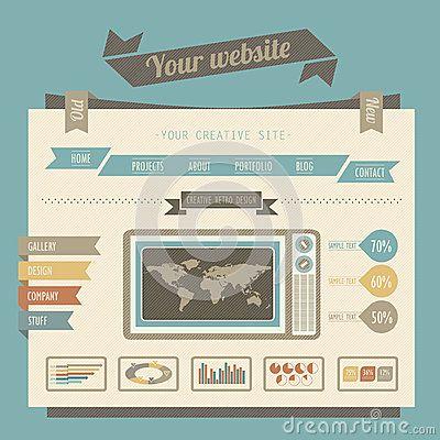 Vintage Style Website Templates By Szaboreka Via Dreamstime Retro Design Website Template Design