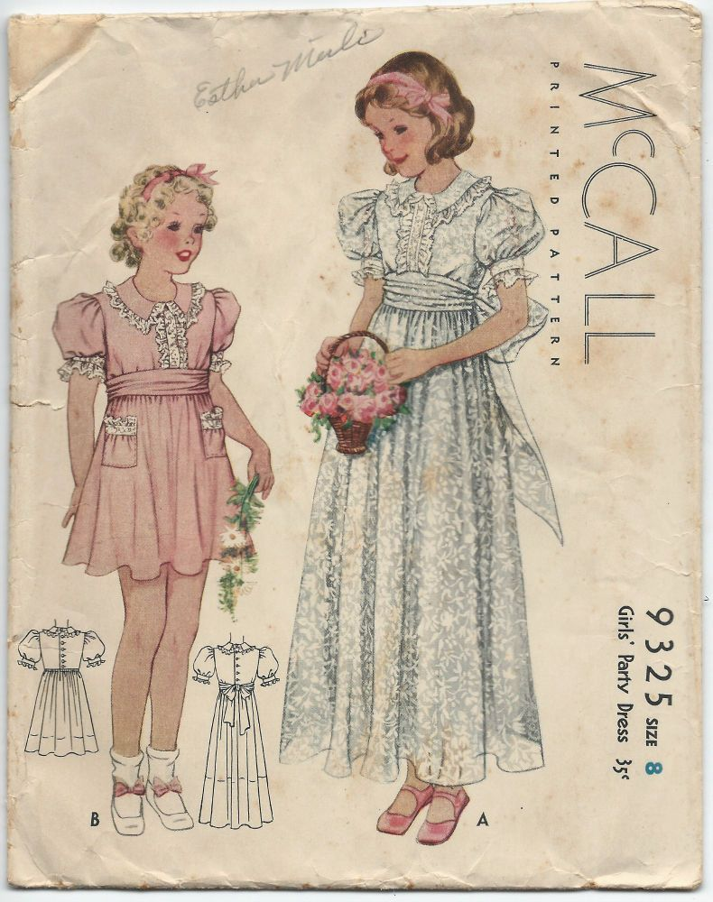 1930s Vintage Sewing Pattern McCall 9325 Girls Fancy Party Dress ...