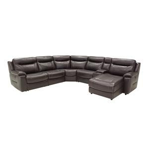 Gianni Leather 9624 Casual Six Piece Reclining Sectional Sofa with ...