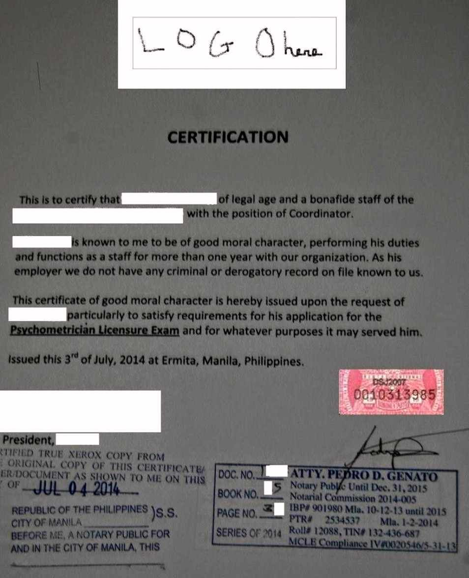 Filipino Bidder Certified True Copies Certification Letter Tagalog