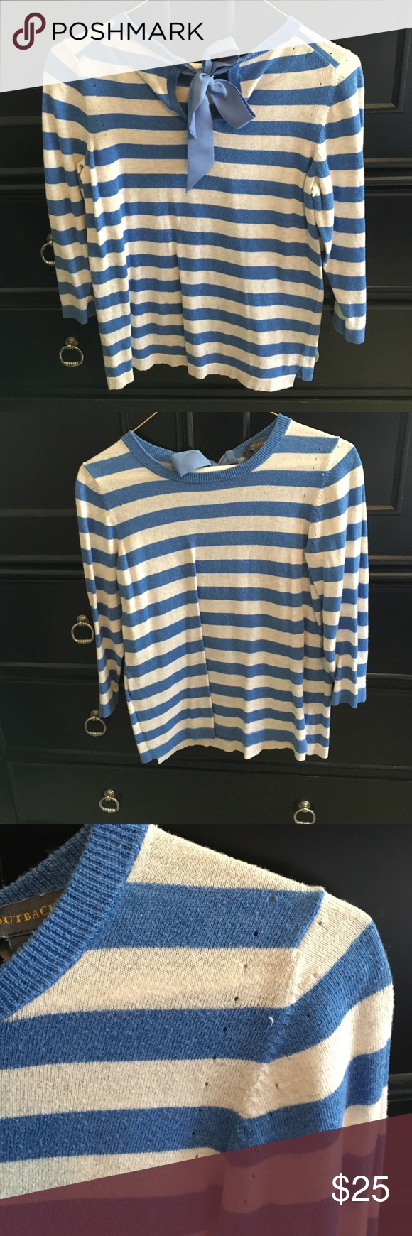 Striped bow back sweater. Offers accepted! Super cute striped ribbon now backed sweater. The Limited Sweaters Crew & Scoop Necks