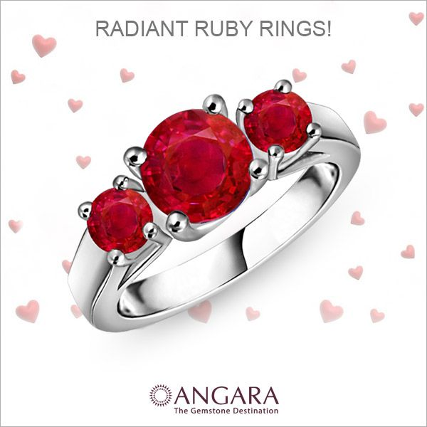 Angara Cathedral Three Stone Round Ruby Engagement Ring