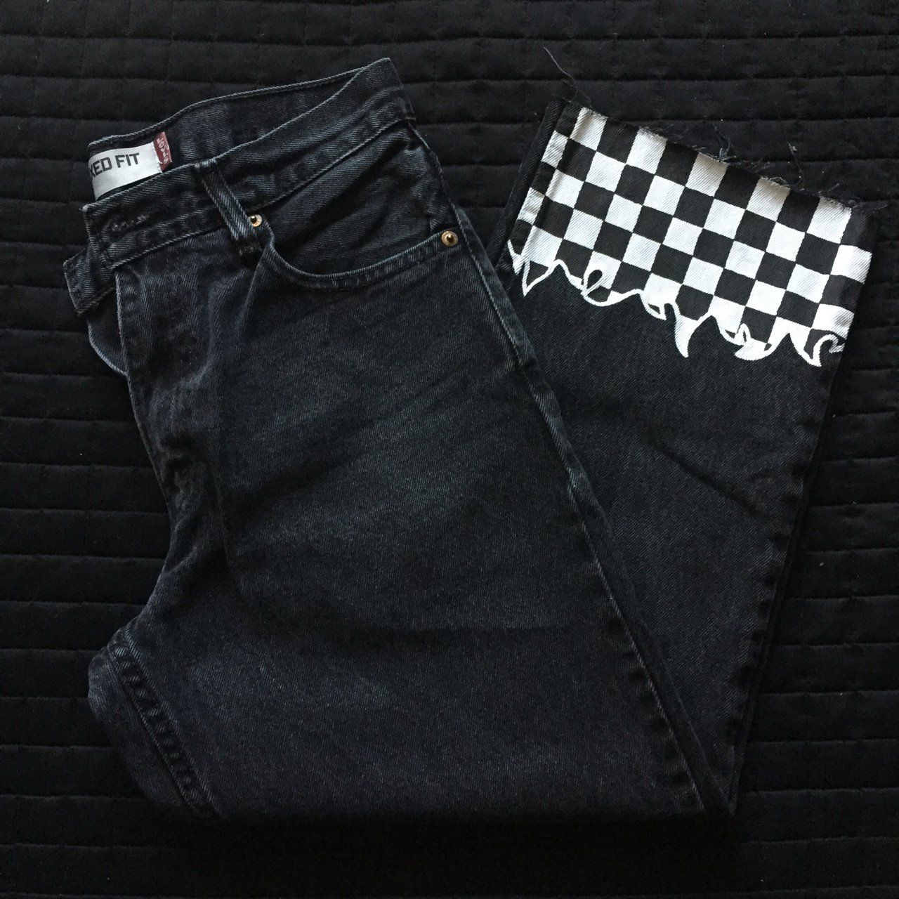 187f24080a52 check out these black and white checkered flame jeans! these babies ...