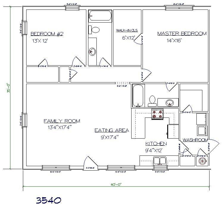 Barndominium Floor Plan 2 Bedroom 2 Bathroom 35x40 Building Ideas