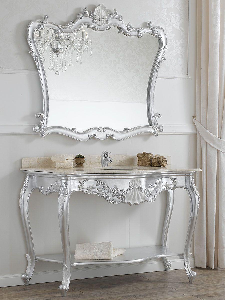 Consolle e specchio stile barocco, foglia argento con particolari bianco laccato.  Arredo Bagno ...