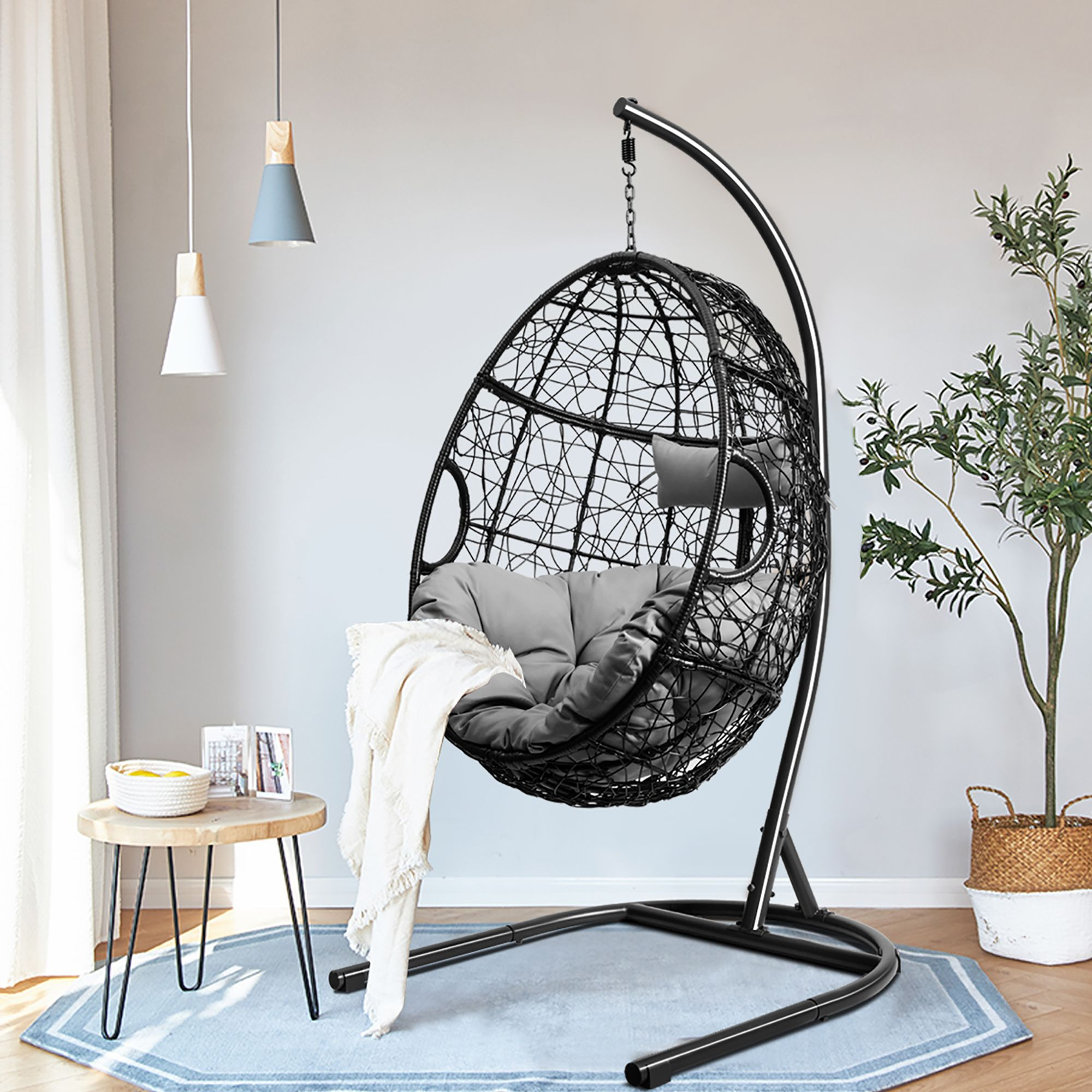 Costway Hammock Chair with Stand Hanging Cushioned Swing