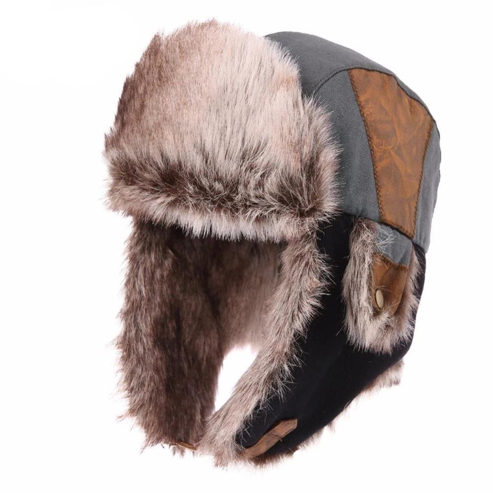 Men/'s Women/'s Aviator Bomber Winter Hat Faux Fur Lining With Ear Flaps Ski Hats