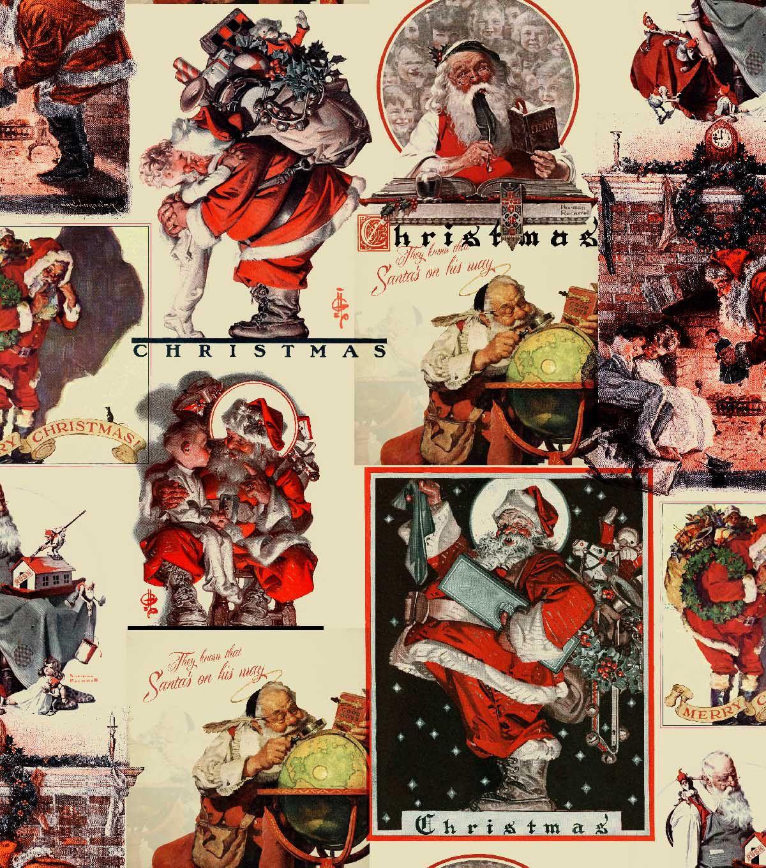 Norman Rockwell Christmas Print Fabric-Santa\'s On His Way ...