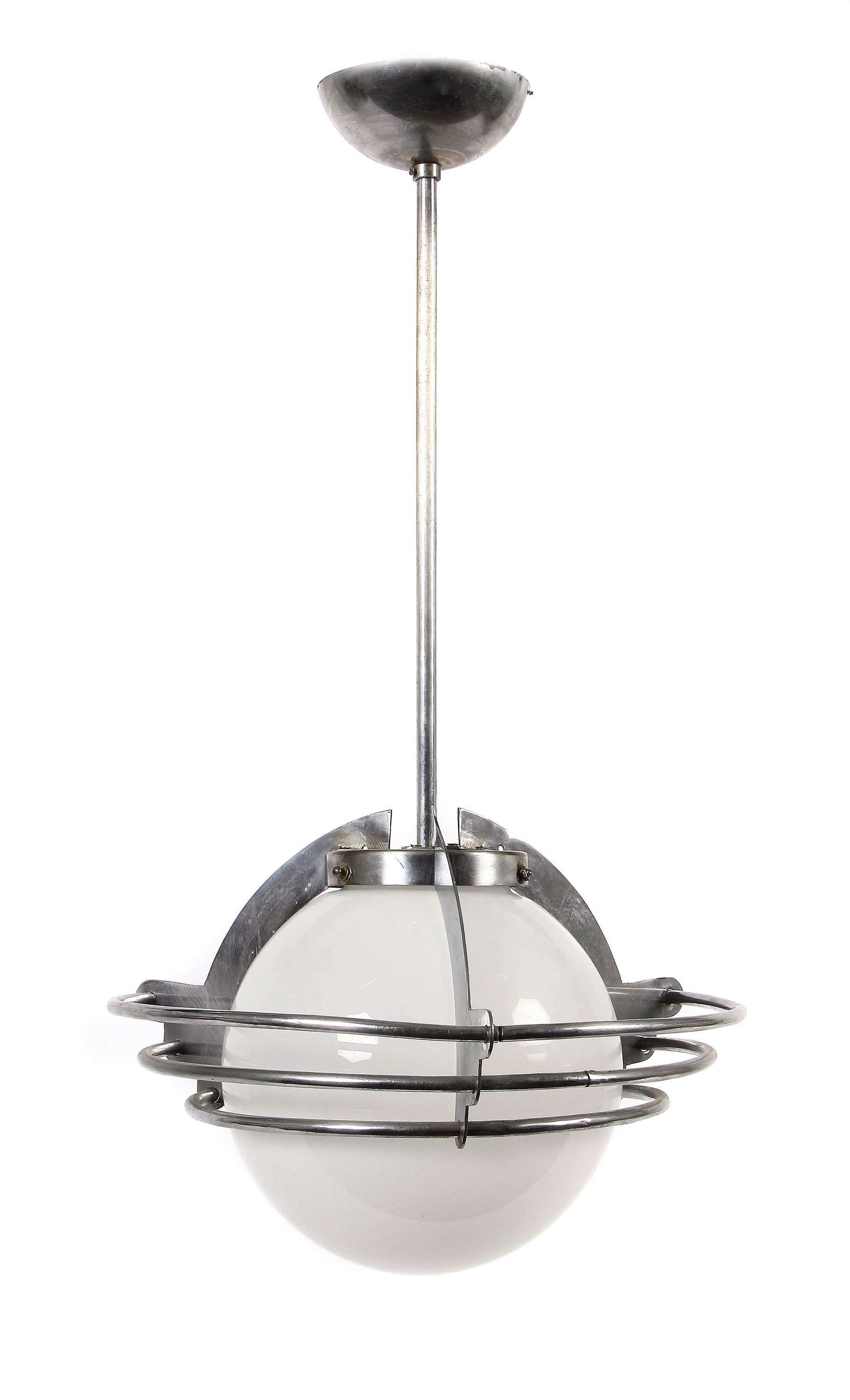 Pendant lamp 1930s, in the way of Saturn, construction of aluminum ...