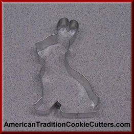 This is a 5 inch Sitting Bunny. It is 1 inch high. All our cookie cutters are made in the USA of tinplate steel. All our cookie cutters are $0.90 each.