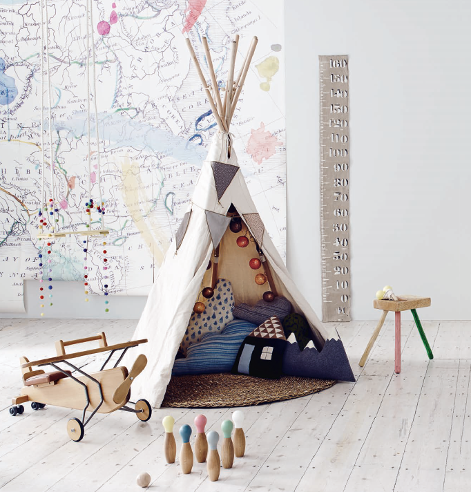Teepee And Enormous Map On The Wall Kids Decor