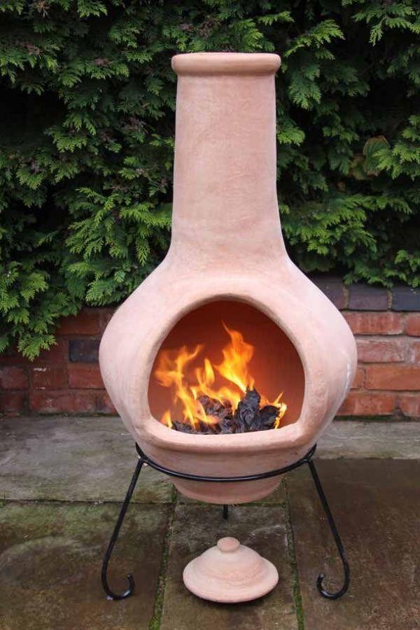 Jumbo Natural Terracotta Clay Chimenea in 2020 | Clay fire pit, Clay chiminea, Terracotta