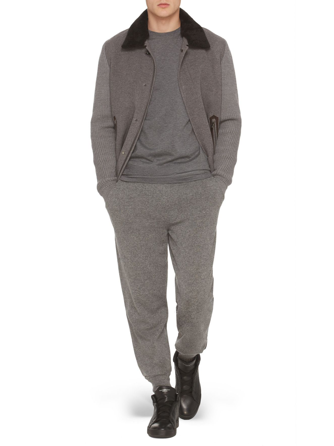 Grey Pure Cashmere Short Jacket FW17 9964697 Zegna