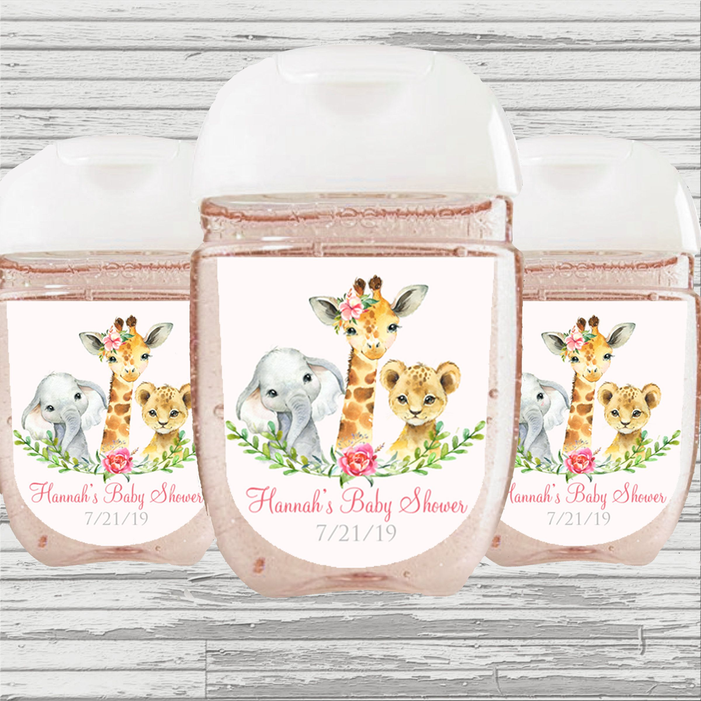 Safari Baby Shower Favor Sanitizer Label Girl Or Boy Hand