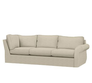 Pearce Slipcovered Right Return Sofa, Down Blend Wrapped Cushions, Textured Twill Oatmeal