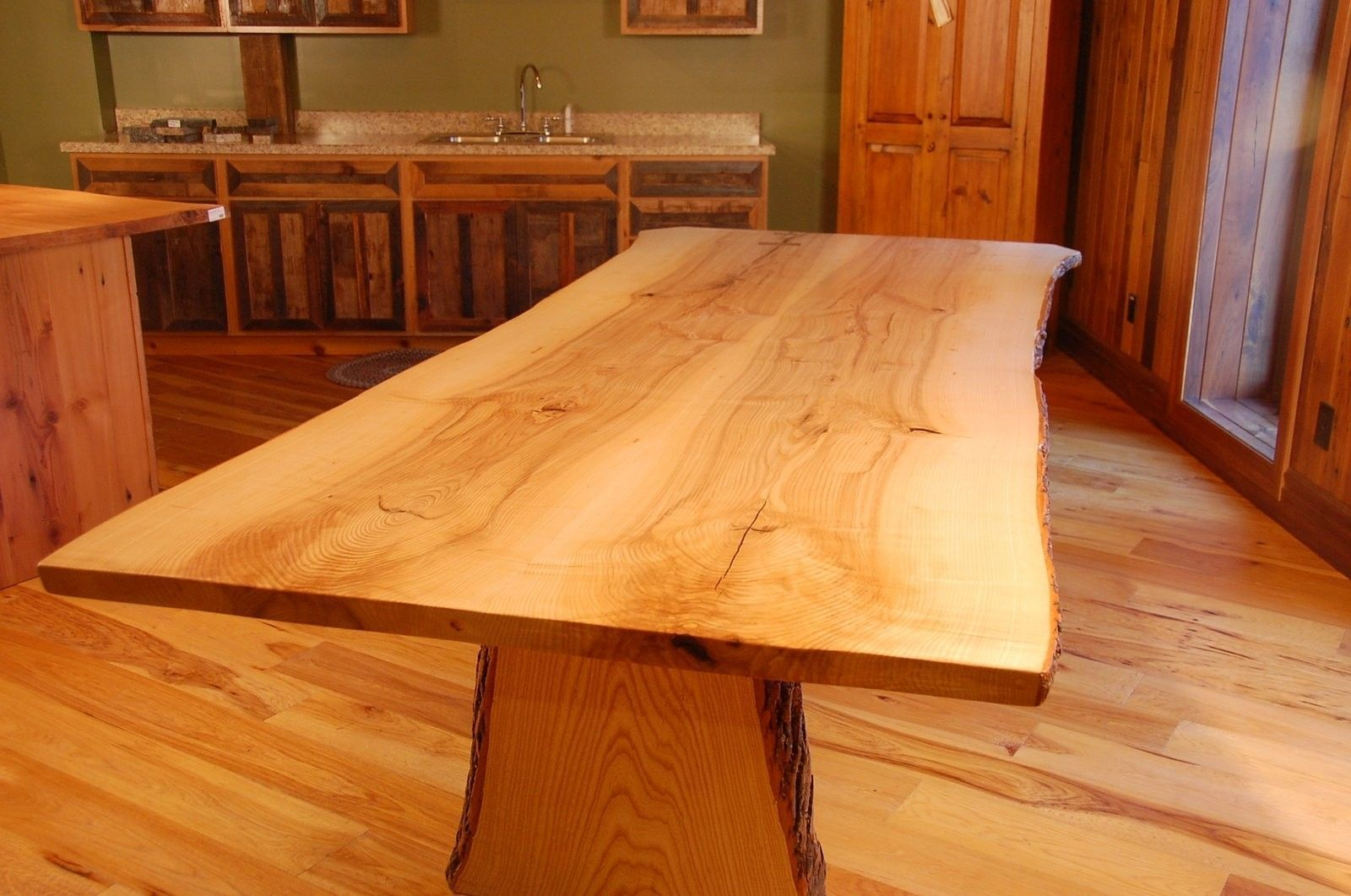 Natural edge dining table w steel hairpin legs from impact imports of - Custom Made Live Edge Ash Slab Dining Table
