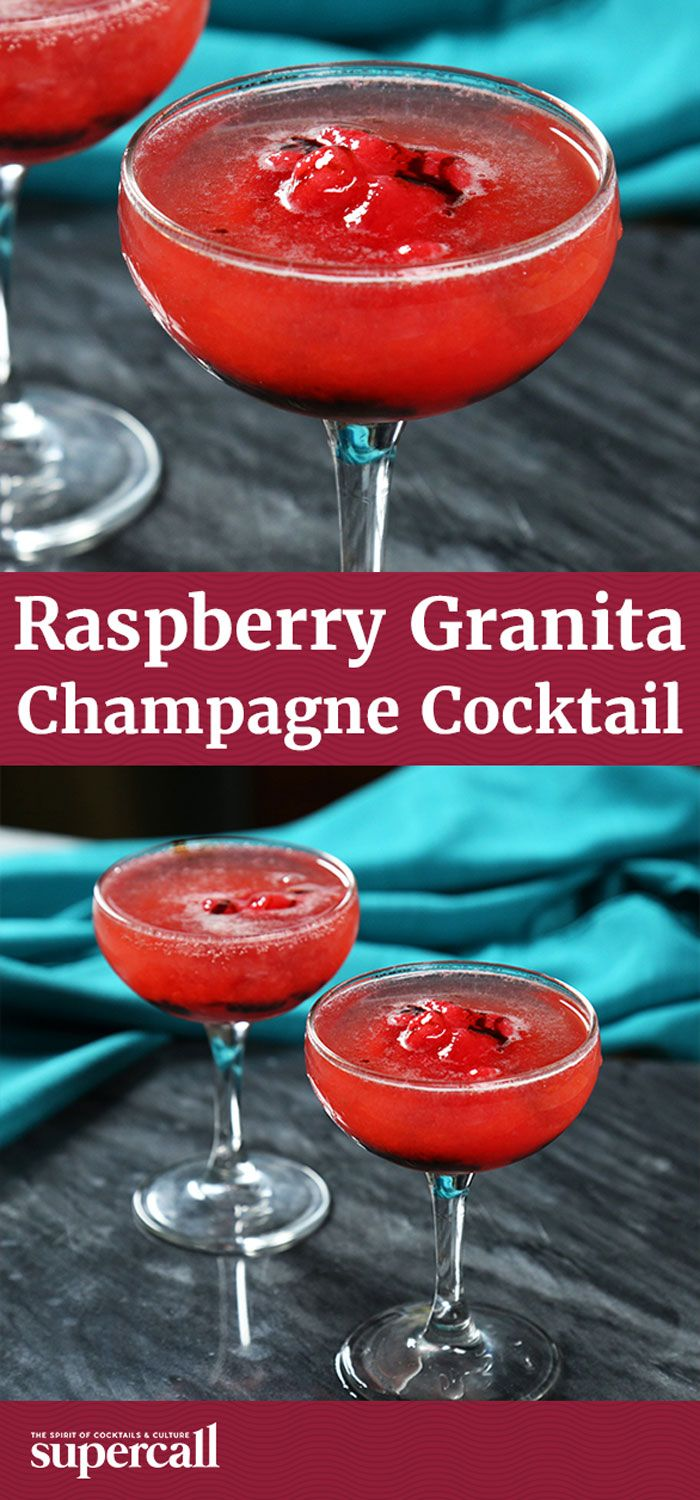 Raspberry Granita Champagne Cocktail Raspberry Drink Champagne Recipes Cocktails Sweet Drinks