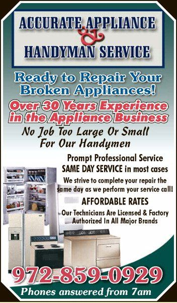 Accurate Liance Repair And Handyman Service At Your Today 972 859 0929