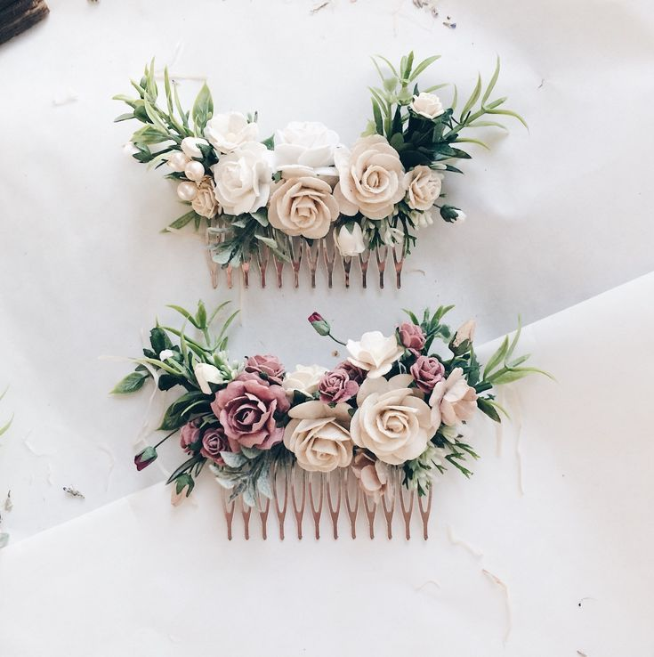 Ivory Hair comb Ivory and white greenery headpiece, floral hair piece, ivory hair clip, bridal hair piece, greenery comb, leavfy comb, brida