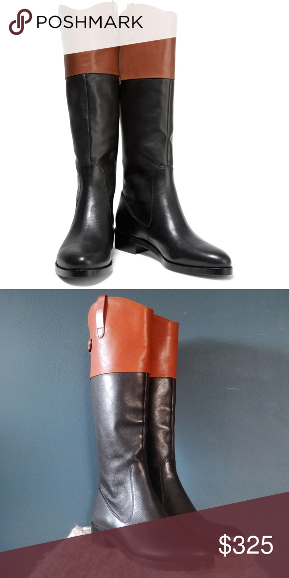 beb351725267 Halston Heritage Barbara Two-Tone Leather Boots Classic   posh Halston  Heritage Barbara Two-Tone Leather Boots in black   cognac. NWT!