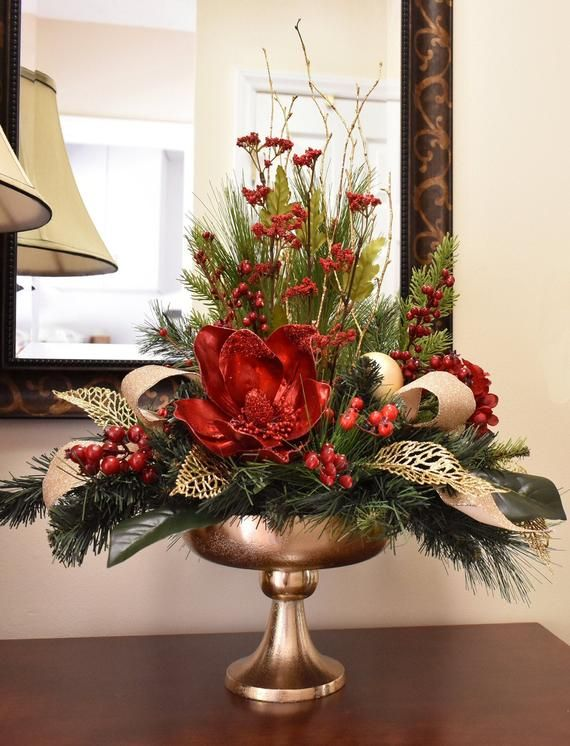 Red Magnolia Christmas Centerpiece Gold Pedestal Vase In 2020 Christmas Centerpieces Diy Christmas Vases Christmas Flower Arrangements