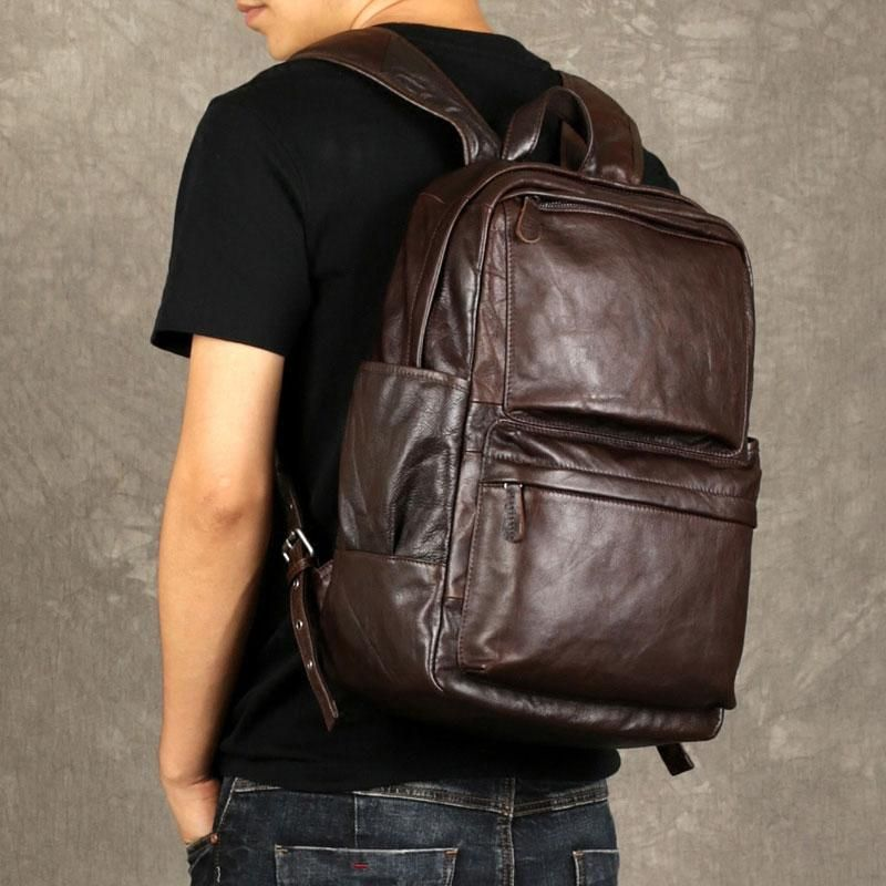 Genuine Leather Mens Cool Backpack Sling Bag Large Coffee Travel Bag H –  iwalletsmen 7ef30e05ff275