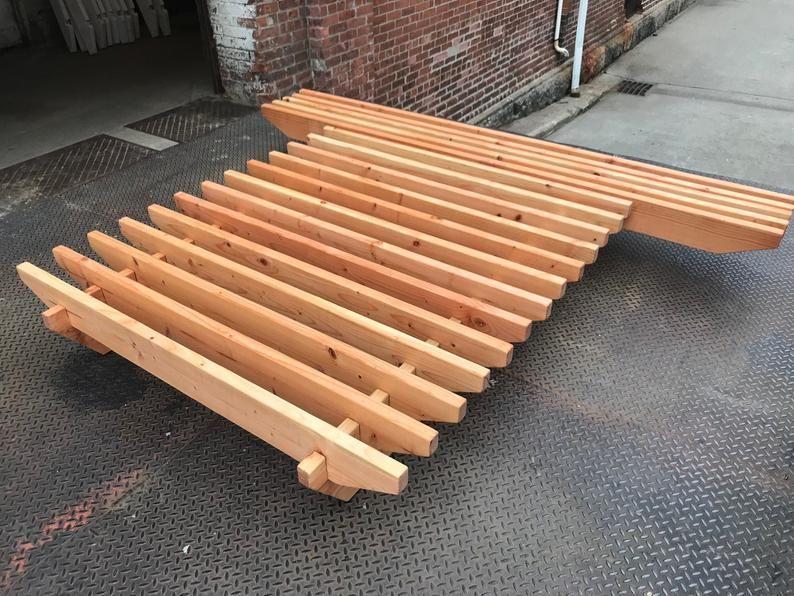 Solid wood platform bed frame & floating nightstand Etsy