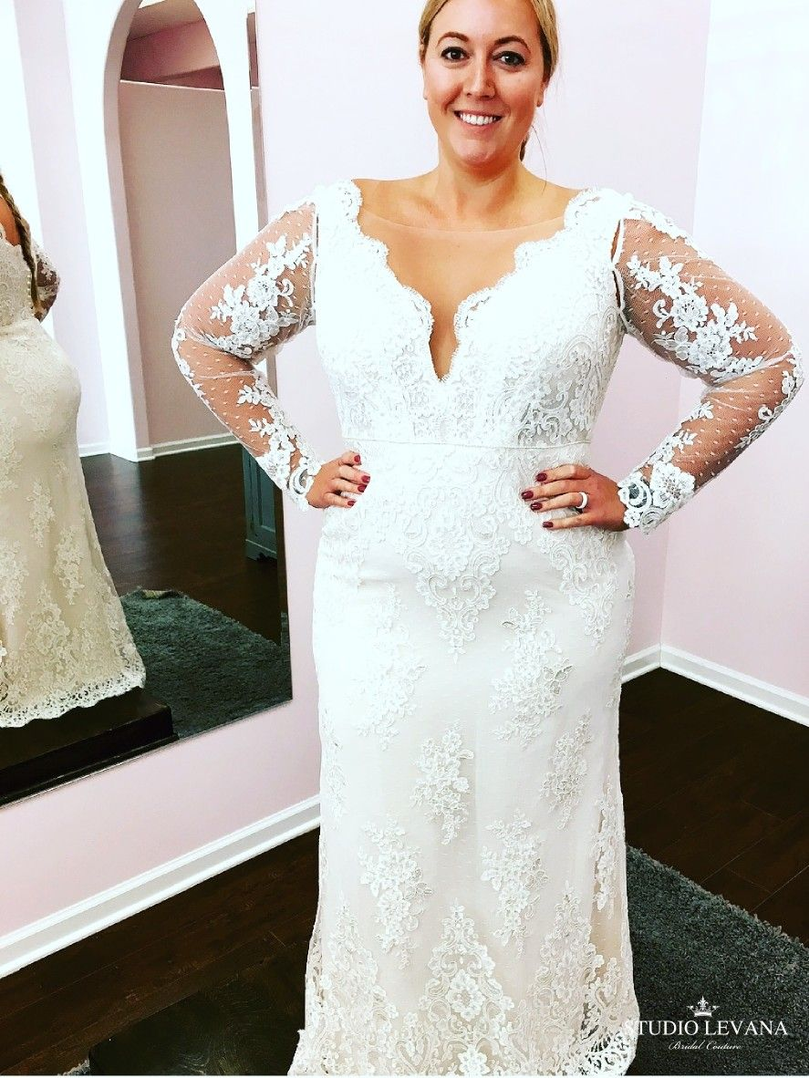 Plus size french lace long sleeves mermaid wedding gown from studio