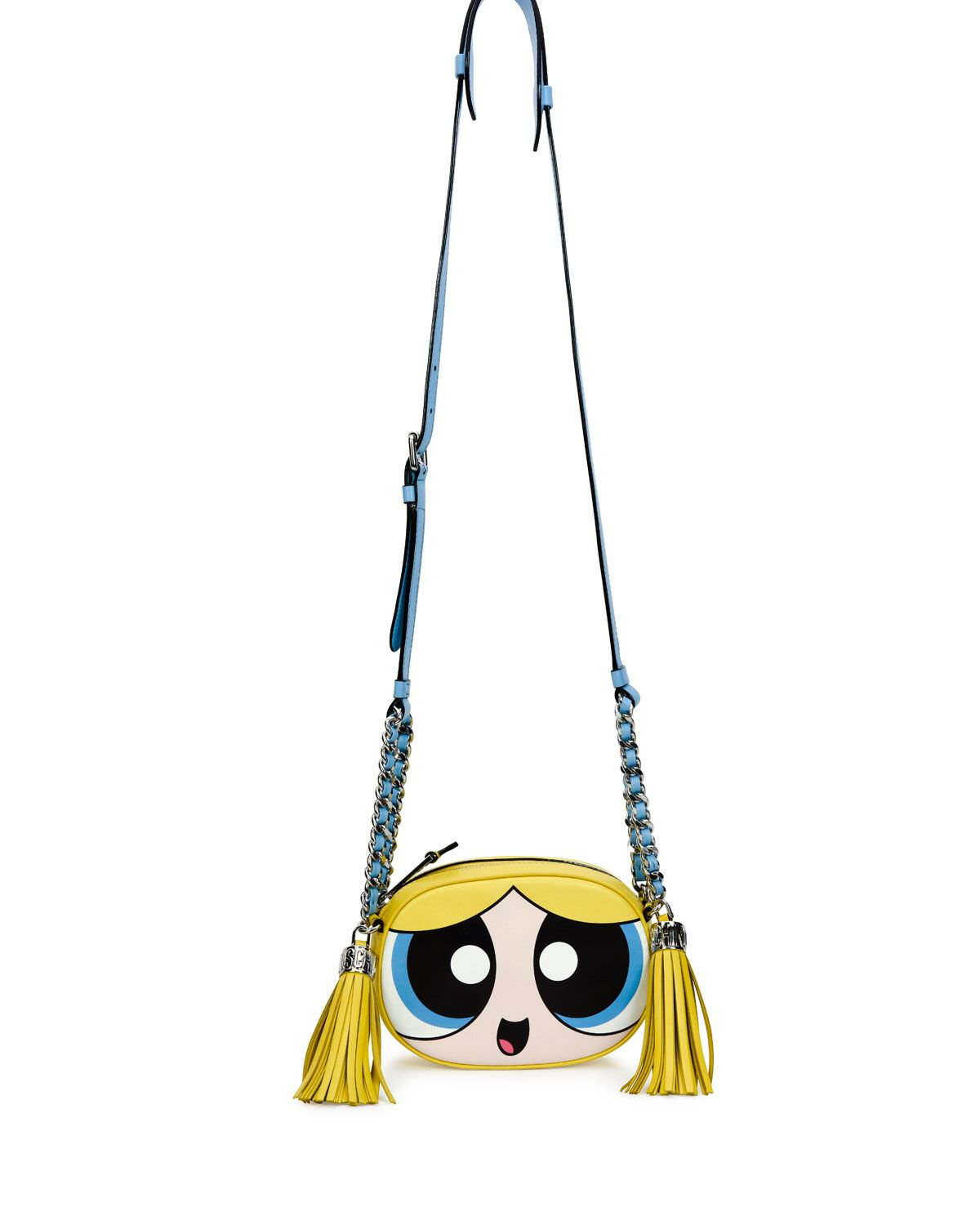 90777d80b2 Powerpuff Girl Leather Shoulder Bag, Blue/Multi, Blue Multi - Moschino